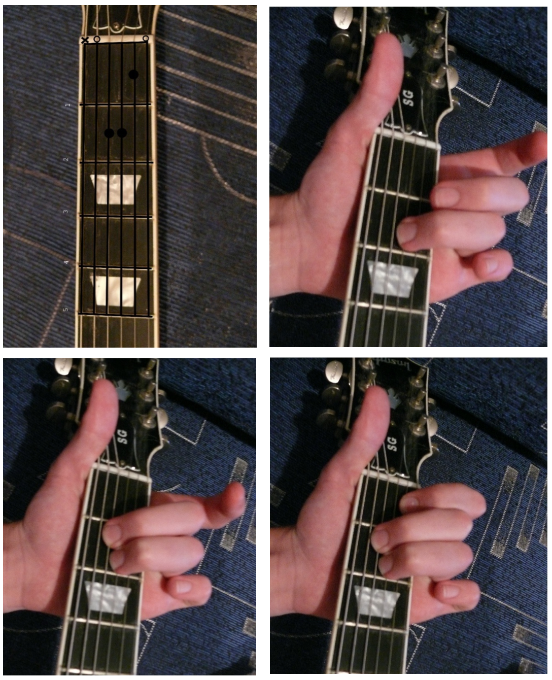 Как зажать аккорд Am на гитаре