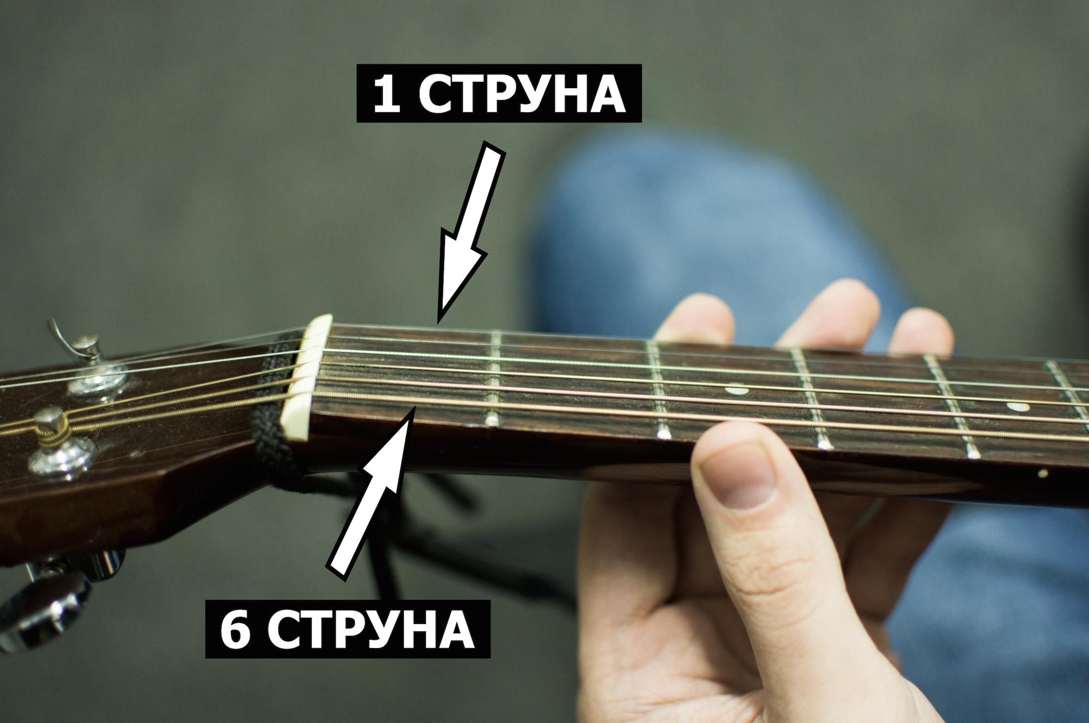 Номера струн на гитаре вид сверху